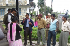 Staff from PEEDA explaining the concept of the Bio-fuel project to the staff of Okhaldhunga Community Hospital and the local community.